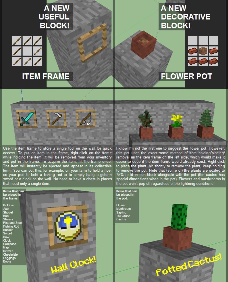 minecraft derni 232 res news maj minecraft 1 4 bientot les cadres et les pots de fleur