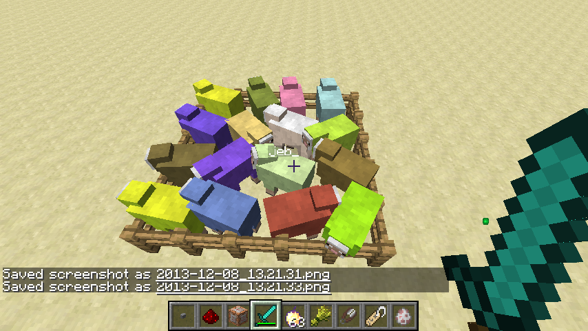 minecraft   le mouton multicolore
