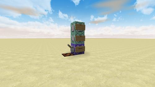 Cette image n'est pas/plus disponible ; il y avait une tour avec un bloc à répétition en bas et deux blocs de chaîne au dessus