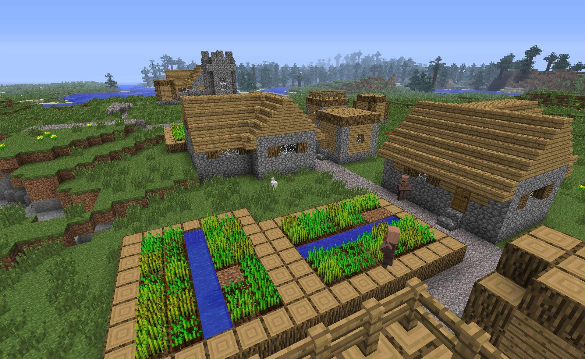 играть майнкрафт бесплатно и чтобы там было море и деревья и поле чтобы там построить дом #5