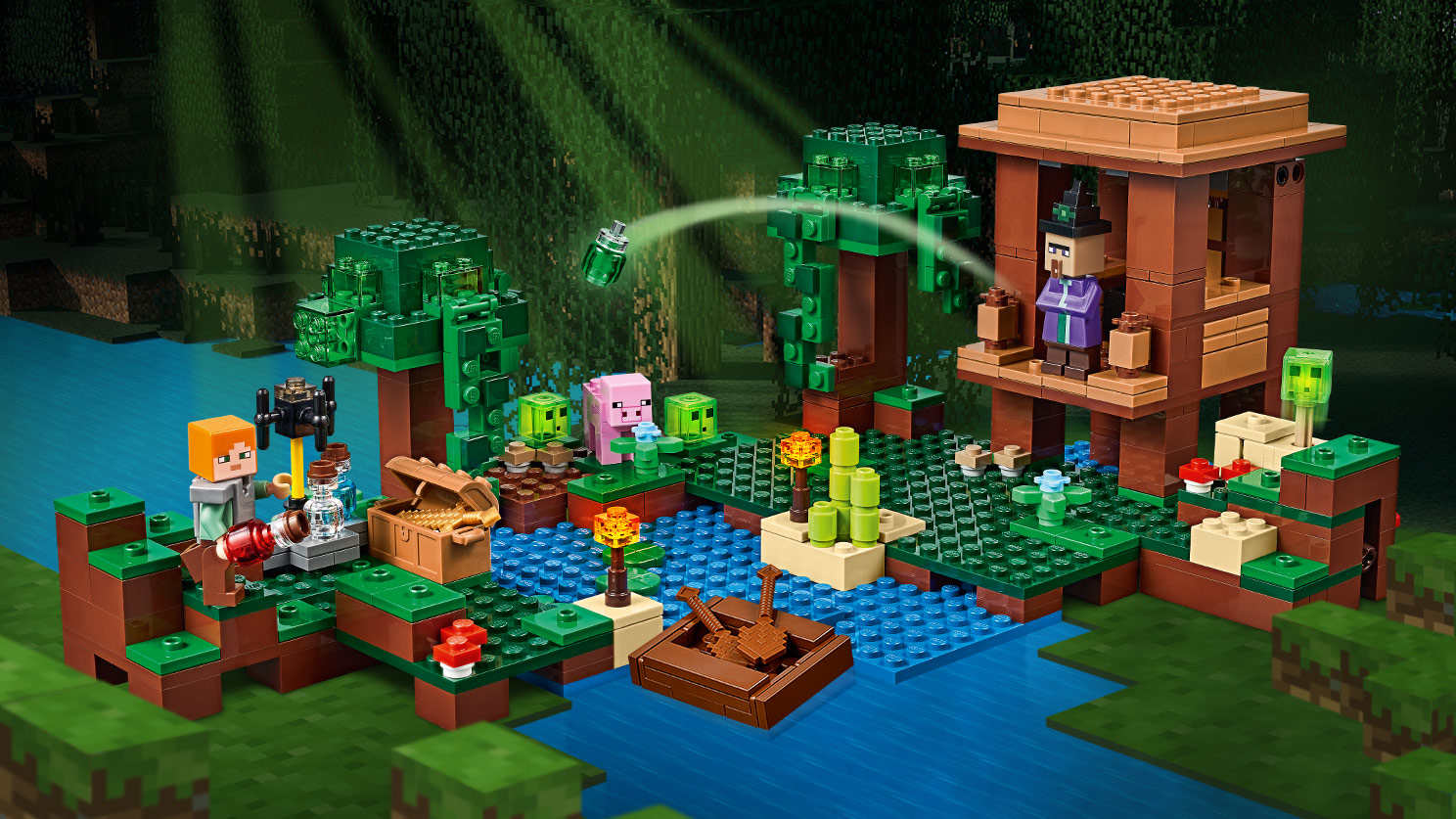 Lego Minecraft 6 Nouvelles Botes Fr 21134 The Waterfall Base Cette Boite Traduite Littralement Par La Hutte De Sorcire Comporte Encore Personnages Alex Avec Un Plastron En Fer Cochon Trois Petits